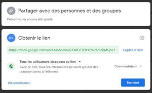 Partage Google Drive avec commentaires